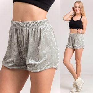 NEW Sage Velvet Shorts